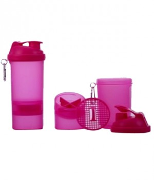 Sun Plastics Shaker Bottle (500 ML) With 2 Storage Boxes - Pink